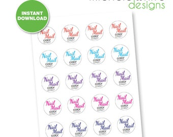 "1.5"" Round Labels, Color Street Nail Mail - Instant Download"