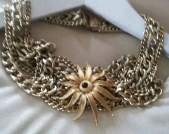 SUMMER 50%OFF SALE/Vintage Gold Assemblage Statement Choker Necklace, Gift