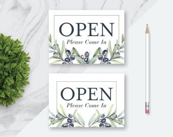 OPEN Printable Sign | Welcome Please Come In Printable Sign | 7 x 5 and 10 x 8 | Digital Download | Store Open Signs | Olive Branches Signs