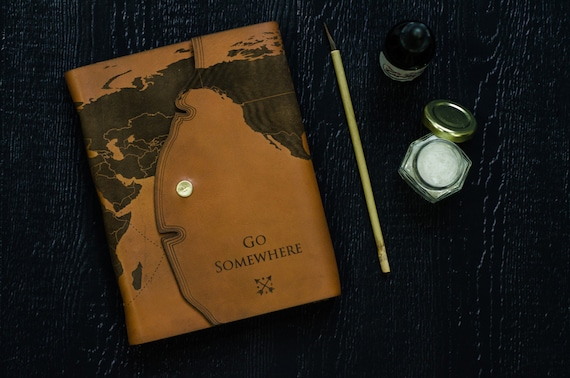 Leather travel journal with laser engraved world map gumiabroncs Choice Image