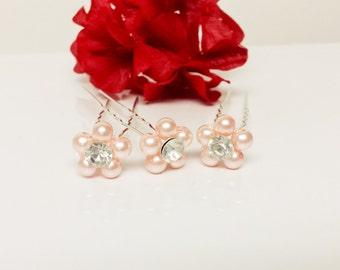 Perfect Pink Pearl Hair Pins - Set of 3 Bridesmaid Hair Pins - Rhinestone Flower Girl Hair Accessories