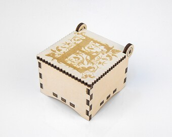 Wooden box, Small Secret Wood Box, (Engraved Letters - E), Gift Box With Lid, Jewelry box, Memory box MG000359