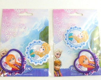 Disney Frozen Appliques - Elsa and Anna Appliques  Set of  2 Packages  Iron On Embroidered Appliques for Clothing or Accessories
