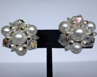 Vintage Pearl And Aurora Borealis Crystal Clip On Earrings Beautiful Bridal Set!