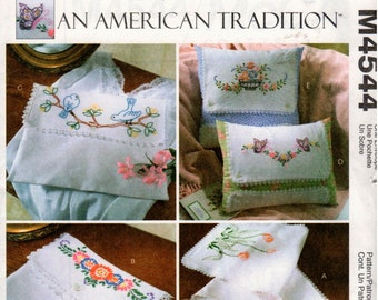 McCall's Crafts Pattern M4544 - An American Tradition - Vintage Embroidered Items - UNCUT - Scarf - Pouch - Pillow