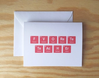 Favorite Teacher greeting card, periodic table, teacher, geeky, red, appreciation, chemistry, chemistry teacher, school