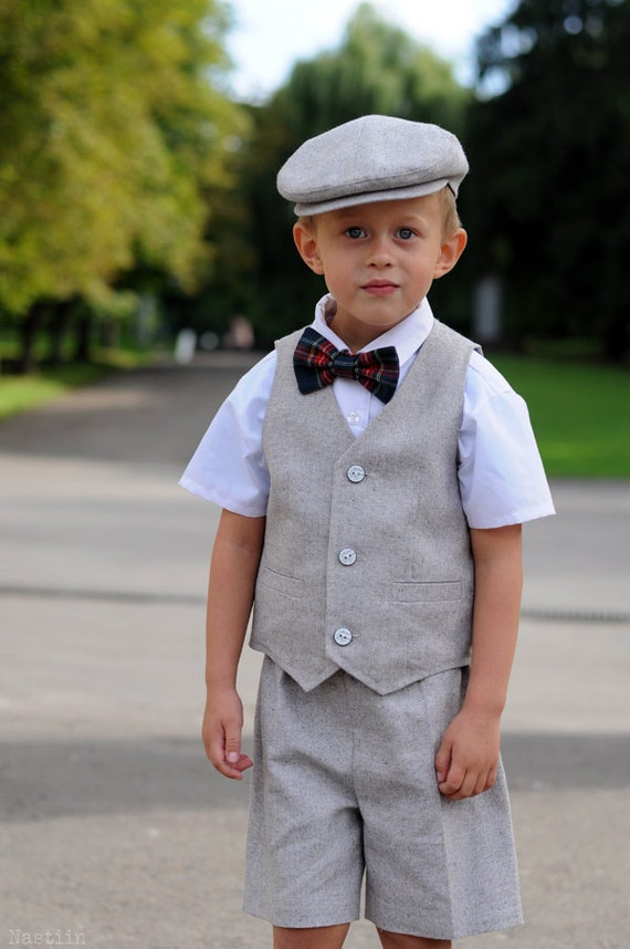 Ring bearer outfit gray Baby boy vest outfit Toddler wedding