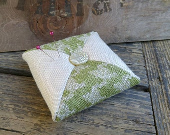 Pincushion Olive Green & Cream Pincushion with Round Bone Colored Button, Approx. 4  in X 4 in