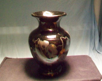 Fenton Ebony Glass Hand Painted In Silver Vase