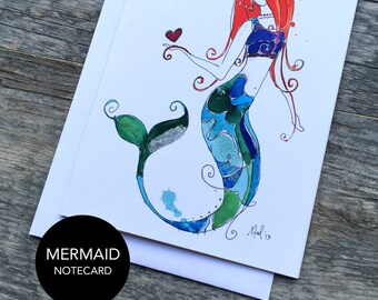 Mermaid Notecard Set of 3 or 6
