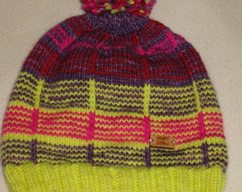 Knit wool beanie - multicolor with pompom - merino wool
