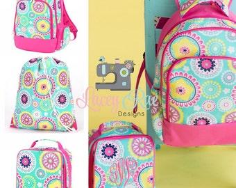 Girls Personalized Backpack, Lunchbox, Preschool backpack, Monogrammed backpack, School Age Backpack, Gym Bag