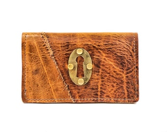 Distressed Leather Phone Case and Wallet for iPhone or Smartphone with Keyhole Hardware One of a Kind