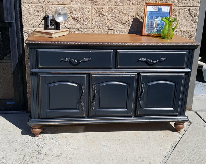 PICK UP ONLY, Vintage Farmhouse Buffet, Sideboard Server, distressed, shabby chic, country, rustic media center, tv console, liquor cabinet