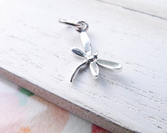 Dragon Fly Charm Dragonfly Pendant Sterling Silver Tiny Insect Charm for Bracelet or Necklaces Firefly (CHSN562)