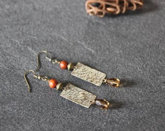 Ethnic earrings, rustic, Bohemian, boho, hammered and patinated brass, bayong wood, glass beads