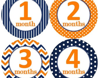 Baby Monthly Milestone Growth Stickers Navy Orange Dots Stripes Chevrons MS150 Nursery Theme Baby Shower Gift Baby Photo Prop