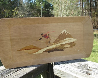 Haskelite Wood Serving Tray--Retro Down Hill Skier--Socialite Tray--Mid Century Collectible--Lithograph Snow Covered Mountain