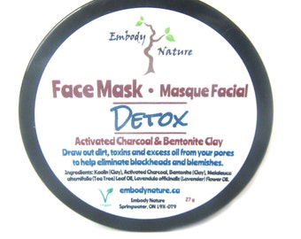 All Natural Detox Face Mask, Activated Charcoal and Bentonite Clay, Acne Prone Skin Face Mask