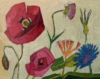 Wildflowers With Poppies Original Oil Painting