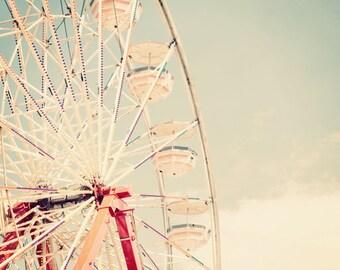 Ferris Wheel Fine Art Carnival Photography Print - Summertime Retro Inspired Home Decor Photo - Carnival Art Print