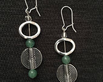 Circle and spiral earrings