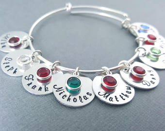 Personalized Name Bracelet - Childrens Names Adjustable Bangle Bracelet - Birthstone Bracelet - Personalized Jewelry - Gift for Mom