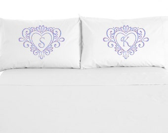 Monogram Heart Pillowcases, Personalized with Couple's initials, Wedding Gift, Couples, Anniversary Gift, Valentine's Day , Set of 2