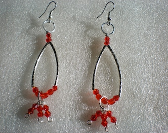 Earrings dangle boho drop earrings, red and silver wedding gift, birthday, anniversary