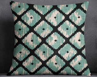 Canvas Standard Cushion Cover, Ikat Print Green Pillow Case, Pillow Cover For Living Room, Satin Chair Cushion Covers, ISUB-SAS264A