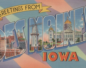 Greetings from Des Moines, Iowa (Pastel) - Vintage Halftone (Art Print - Multiple Sizes Available)