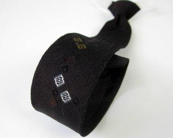 "Vintage 1950s Boys Tie / Childs 13.5"" Clip-On Skinny Necktie / Dark Brown with Diamond Pattern, Retro Rockabilly"