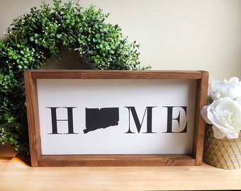 Connecticut Home | 18x10 | Wood Sign | Farmhouse Style | Customizable