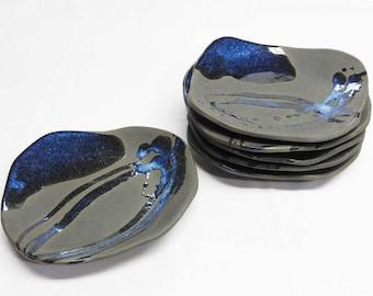 Ceramic plates, Handmade Plates, Restaurant ware, Japanese Ceramics, Dinnerware, Dessert plates, Ocean blue, W35