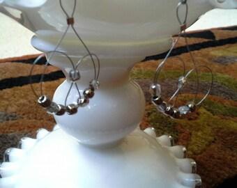 Silver beaded wire earrings