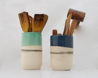 Kitchen utensil holder, housewarming gift, large utensil crock, handmade pottery, cooking gifts, kitchen decor, valentines day