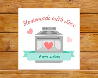 Personalized Homemade with Love Tags - Homemade Tags - Baking Gift Tags - Custom, Digital File, Printable