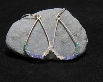 Dangle teardrop tri-stone earrings