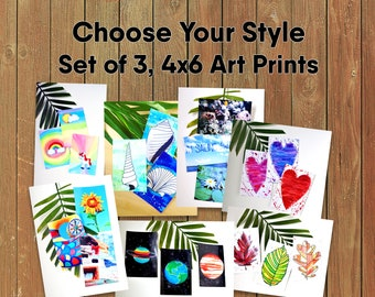 Set of 3, 4x6 Art Prints Choose Your Style Ready to Frame Watercolor Artwork Photography