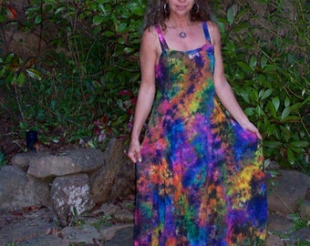 Electric Rainbow Tie-dyed Woman's Long Flow Dress
