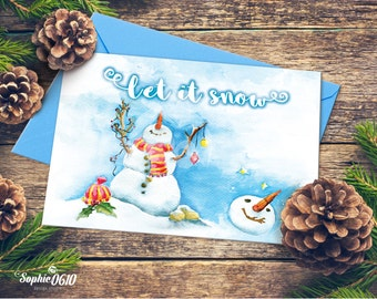 Christmas Printable Card 21cm x 15cm, Watercolor Handmade Painted, Let it snow, Digital Files, Instant Download