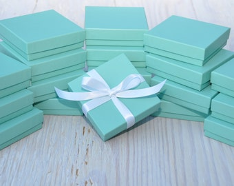 50 Turquoise 3.5x3.5x1 Matte Gift Jewelry Boxes Square Retail Presentation with Cotton Fill