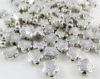 50pcs Silver Funky Flower Spacer Beads Tibetan Style 7x7x3mm Hole 1.5mm (B123)