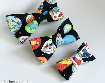 space, planets, rocket ships, and robots bow tie for dogs and cats