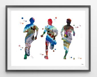 Running boys watercolor print three friends running poster teens out for a run illustration sport art running painting wall decor [336]