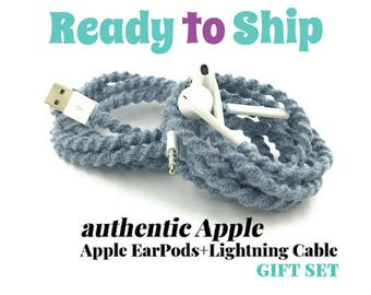 Gift Set for Her for iPhone 6 Charger Cable & Wrapped Tangle Free EarPods Headphones for iPhone iPod in SKYE