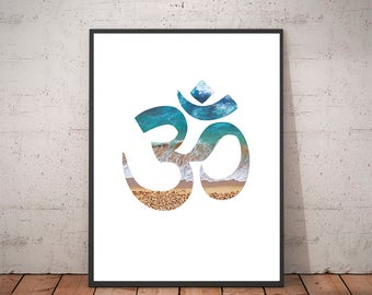 Om Symbol - Om Wall Art - Om Print Art - Om Art - Ocean Art - Sea Print Art - Ocean Decor - Yoga Art - Om Decor - Zen Art - Yoga Decor