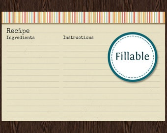 Recipe Card v1 - Fillable - Recipe card 6x4 inches -  Instant download - Printable PDF