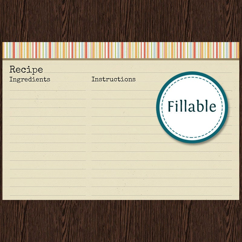 free typable recipe cards