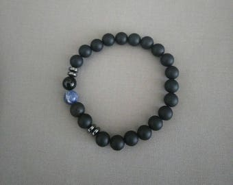 Braclet Onyx and blue vein 20cm